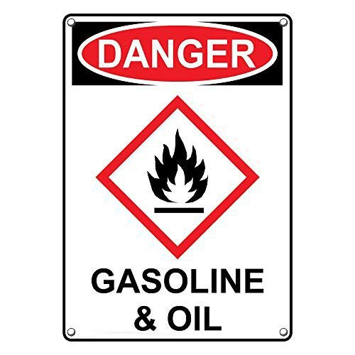 - LilithCroft99 OSHA-GHS Danger Gasoline & Oil Signs Aluminum Funny Warning Signs Metal Private Notice Sign Hazard Wall Plaque 8
