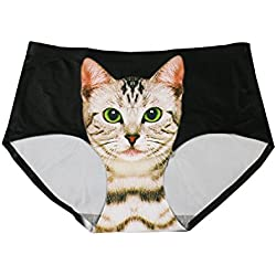 Lovexotic Women's Smooth Seamless Cat Printed Hipster Briefs Panties Underwear Black, One Size