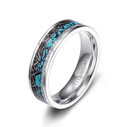 Bands Titanium Turquoise - TIGRADE 6mm 8mm Titanium Rings Turquoise Imitated Meteorite Inlaid Wedding Band Size 6-12