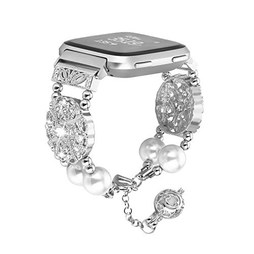 FOHUAS Compatible for Fitbit Versa Band, Adjustable Handmade Pearl Bling Rhinestone Dressy Bracelet Women Girl Wristband withEssential Oil/Perfume Storage Pendantfor Fitbit Versa (Silver)