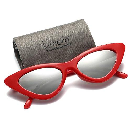 femmes Goggles de soleil amp;argent lunettes K0566 Chat métalliques Clout Rouge Œil kimorn Charnières pour De 0HqTTZ