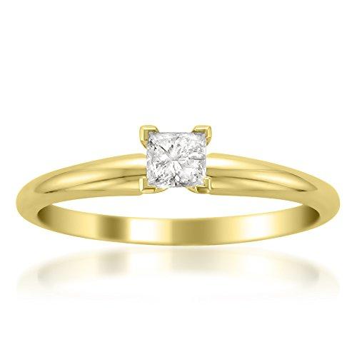 (14k Yellow Gold Princess-cut Solitaire Diamond Engagement Wedding Ring (1/4 cttw, I-J, I2), Size 7)