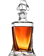 FineDine European Style Glass Whiskey Decanter & Liquor Decanter with Glass Stopper, 30 Oz.- With Magnetic Gift Box - Aristocratic Exquisite Quadro Design - Glass Decanter for Alcohol Bourbon Scotch.