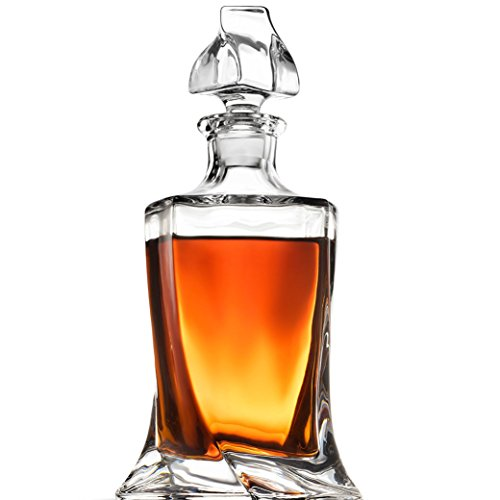 FineDine European Style Glass Whiskey Decanter & Liquor Decanter with Glass Stopper, 28 Oz.- With Magnetic Gift Box - Aristocratic Exquisite Quadro Design - Glass Decanter for Alcohol Bourbon Scotch.