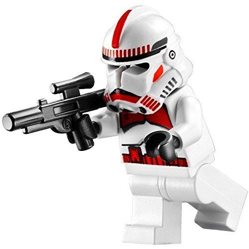 (LEGO Star Wars - Minifigur Clone Trooper / Shock Trooper Episode 3 mit Sturmgewehr - rote Markierungen auf Helm und Oberkörper)