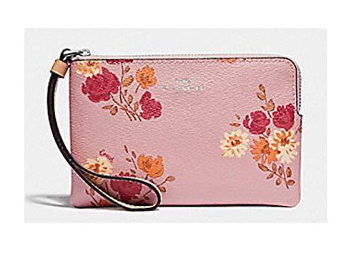 (Coach Corner Zip Wristlet Peony Pink Carnation Light Khaki Bag )