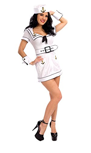 - Deluxe Halloween Costume Hey Sailor Womens Sexy (White, Small)