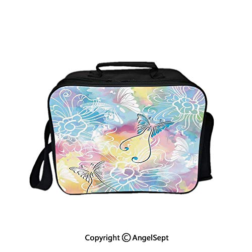 Multifunctional Lunch Bags for Women Wide Open,Romantic Brushstroke Backdrop with Haze Blur Splash Features and Moth Antler Multi 8.3inch,Lunch Box With Double Deck Cooler Tote Bag (Deck Haze)