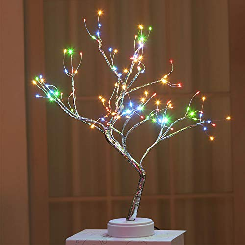 Allytech Nice Firefly Tree Night Lights - 108 LED Lights Colorful Light 19-Inch in Height Adjustable Branches Desk Table Decor LED Lights with USB Cable for Indoor Home Room Decoration - Colorful
