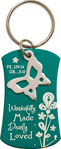 Price comparison product image Wonderfully Made Dearly Loved Teal Dog Tag Flower Metal Butterfly Charm Key Chain