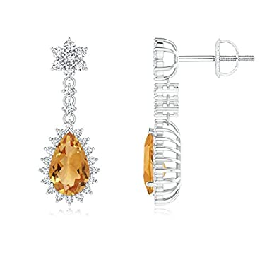 Angara Pear Citrine Halo Dangle Earrings with Diamond Cluster in Platinum BX92O