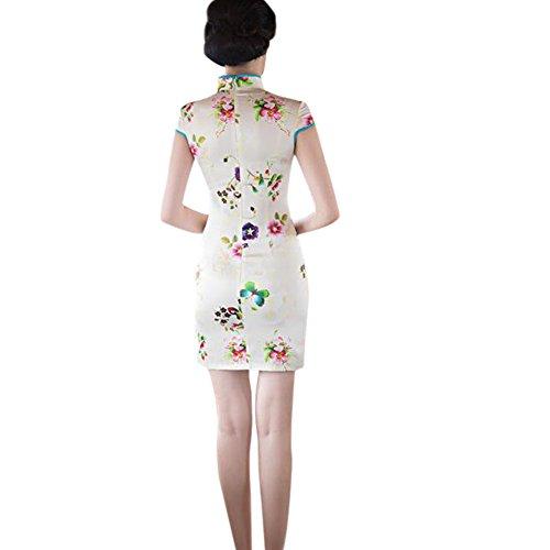 de Retro Slim Corto Hzjundasi Impreso Mujer Chino 03 noche Cheongsam Seda Qipao Elegante Style Floral Vestido HOwxwAU4