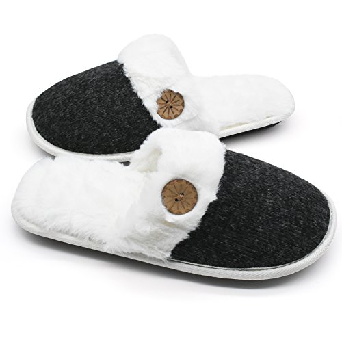 Memory on Cat Soft Womens Foam Slip Black2 Slippers Plush Fluffy Cute Embroidery Shoes Indoor Animal Comfy House XxzwWOzqYr