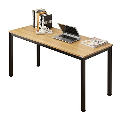 AUXLEY Computer Desk 55 Inch Modern Simple Office Writing Desk for Home Office, Double Deck Wood and Metal Office Table Teak Black Metal Set Writing Desk