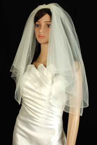 2 X Bicone (Bridal Veil Diamond (Off) White 2 Tiers Elbow Length Edge Trimmed With Beads)
