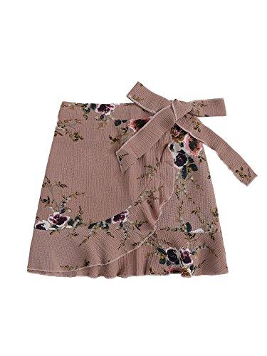 SheIn Women's Cute Ruffle Hem High Waist Bow Knot Plaid Mini Skirt Dusty Pink Large -