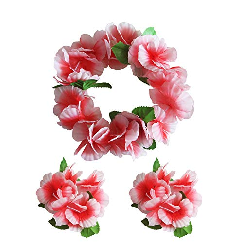 Just XiaoZhouZhou 3Pcs/Set Colorful Tropical Luau Leis Flowers Headband Waistband Headpiece Necklaces for Party Supplies,C
