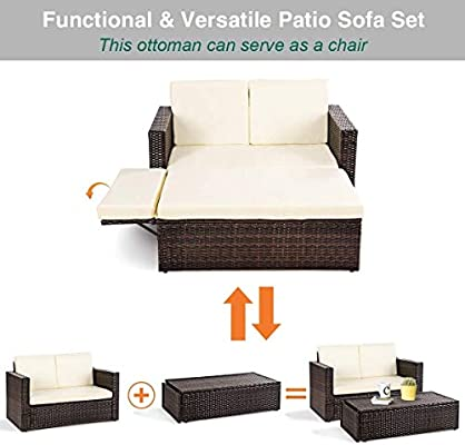 Amazon.com : LordBee Modern Design Outdoor Patio Rattan Sofa ...