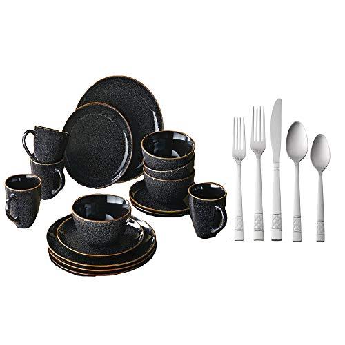 Better Homes & Gardens 16-Piece Burns Dinnerware Set, Black Speckled bundle with Mainstays Pierremont 20 Piece Flatware Set (Stainless Forks Steel Home Better)