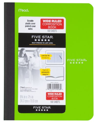 Five Star Composition Book, Wide Ruled, 100 Sheets, 9.75 x 7.5 Inch Sheet Size, Assorted - Color May Vary (09006) Photo #4