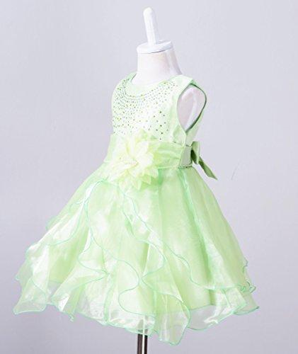vestido Floración Cumpleaños Baby Verde Girl Ruffle Organza Boda ZAMME qwSFU6F