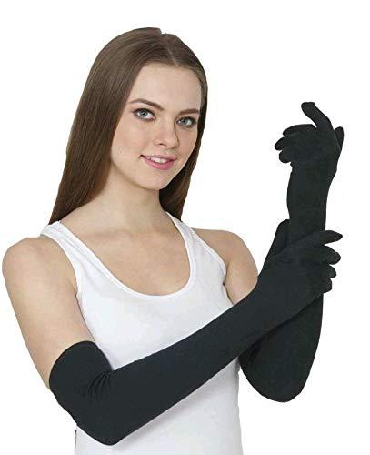 B.H Women's Black Cotton full hand gloves, packof 1pair