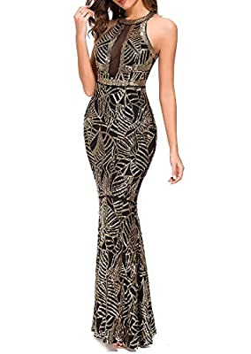 VVMCURVE Women's Sexy Off Shoulder Sequin Evening Prom Long Gowns Fishtail Maxi Dress