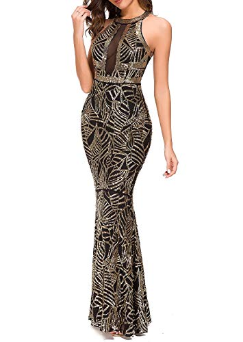 VVMCURVE Women's Sexy Off Shoulder Sequin Evening Prom Long Gowns Fishtail Maxi Dress (X-Large, Black-Gold)