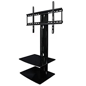 swiveling tv wall mount with two shelves shelf electronics. Black Bedroom Furniture Sets. Home Design Ideas