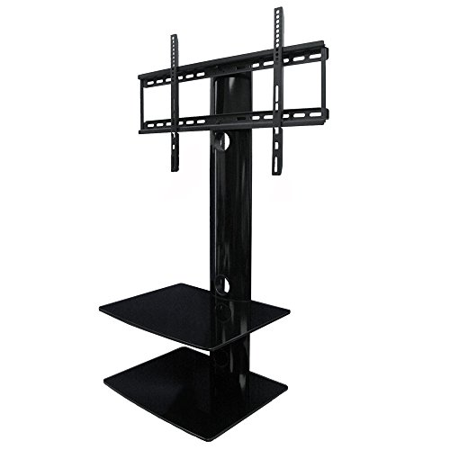 Swiveling TV Wall Mount with Two Shelves (Shelf) (Wall Stand Audio Mount Glass)