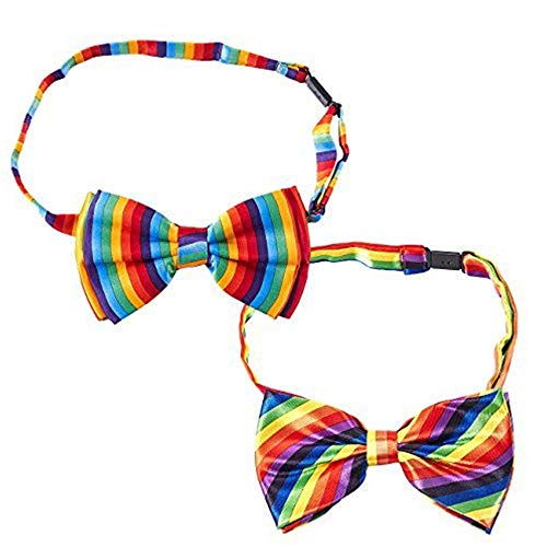 Rainbow Bow Tie - 2-Pack Men's Adjustable Pre-tied Bowtie for Gay Pride Parade -