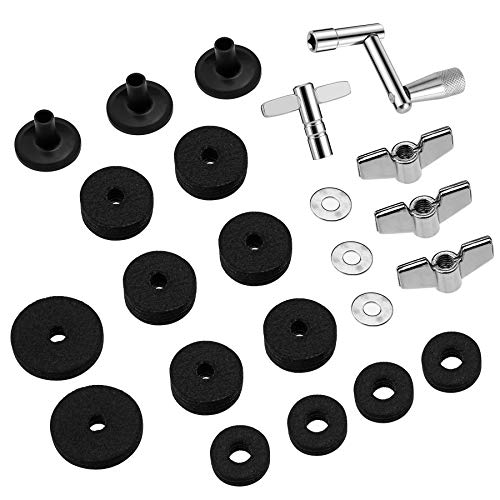 23 Pieces Cymbal Replacement Accessories Cymbal Felts Hi-Hat Clutch Felt Hi Hat Cup Felt Cymbal Sleeves with Base Wing Nuts Cymbal Washer and Drum Keys for Drum Set - Hi Nut