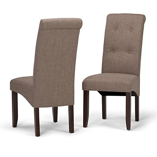 Simpli Home WS5109-4-LML Cosmopolitan Contemporary Deluxe Tufted Parson Chair (Set of 2) in Light Mocha Linen Look Fabric