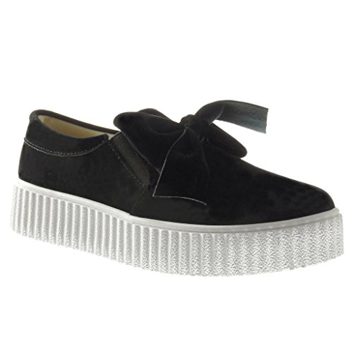 Angkorly - Zapatillas de Moda Deportivos zapatillas de plataforma slip-on mujer pajarita Talón Plataforma 3.5 CM - Negro