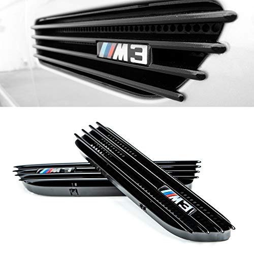 Glossy Black Side Fender Grille for BMW M3 E46 2001-2006 Vent Replacement Grills Compatible with Convertible and Coupe - Direct OEM Replacement include Left and Right side with Logo Stickers