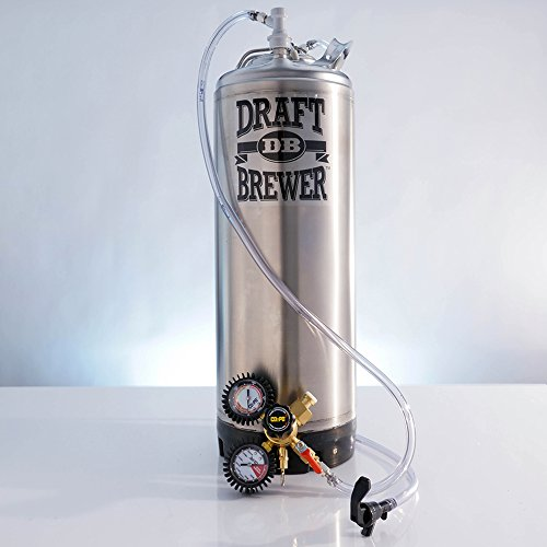 Draft Brewer Single Homebrew Kegging System for Home Brew Beer - with Dual Gauge CO2 Regulator and a Single Ball Lock Keg