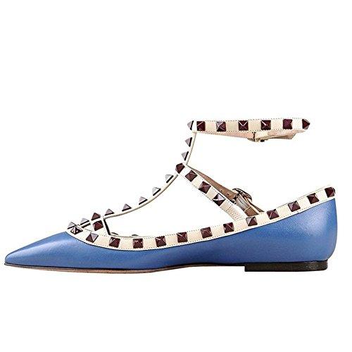 Arc-en-ciel zapatos de las mujeres del dedo del pie en punta hebilla tachonada pisos Azul