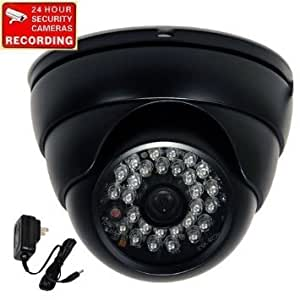 "VideoSecu Dome Day Night Outdoor Security Camera Vandal Proof Built-in 1/3"" SONY Effio CCD 600TVL Wide Angle Lens 28 Infrared LEDs for CCTV DVR Home Surveillance with Power Supply VD6HBL WS1"