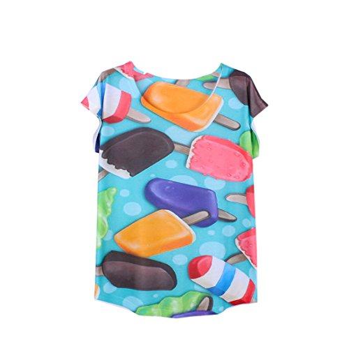 Fleur Courte shirt Avec Glace Bleu Imprimé Top Couleur Acvip Manche T Femme wAE8ZqXnX6