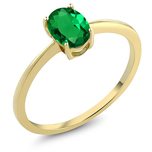 0.60 Ct Oval Green Simulated Emerald 10K Yellow Gold Solitaire Engagement Ring (Sizes 5,6,7,8,9) (Emerald Solitaire)