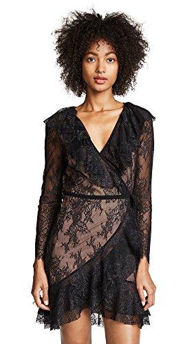 For Love & Lemons Women's Daphne Lace Wrap Dress, Black, (Lemon Lace)