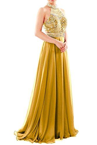 MACloth Women Halter High Neck Sleeveless Long Prom Party Dress ...