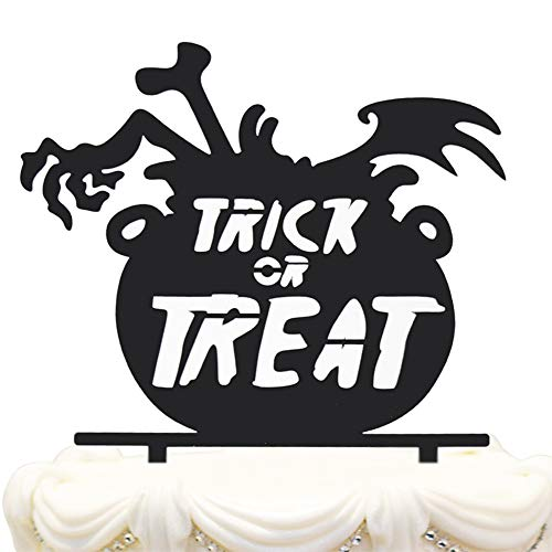 (Hatcher lee Trick Treat Halloween Acrylic Black Cake Topper Medicine Bottle Devilish Hand Skull Scary Party Sign Decoration.)