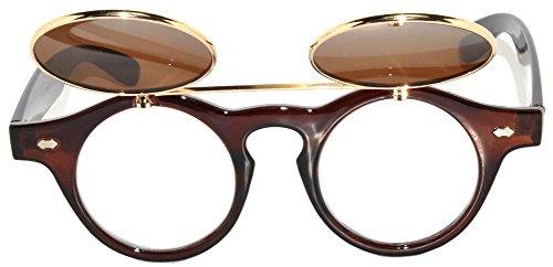 Retro Steampunk Circle Flip Up Sunglasses Brown Gold Frame Brown - Framed Glasses Circle