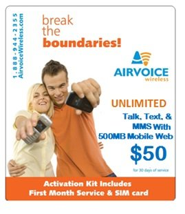 Airvoice Wireless Starter Kit UNLIMITED Talk, Text, MMS & 500MB of Data with $10FREE ILD (International Long Distance Calling) Includes SIM Card & 30 Days of Service