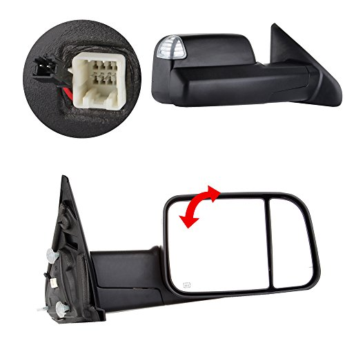 Scitoo Black Side View Towing Mirrors Power Heated LED Signal Light Pair Set For 02-08 Dodge Ram 1500 03-09 Ram 2500 3500 Truck