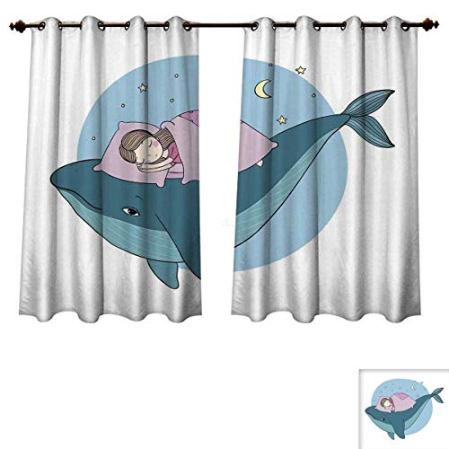 RuppertTextile Whale Blackout Thermal Curtain Panel Hand Drawn Style Little Girl is Sleeping on a Whale Cozy Bed in The Night Sea Patterned Drape for Glass Door Blue Lilac Yellow W72 x L84 inch