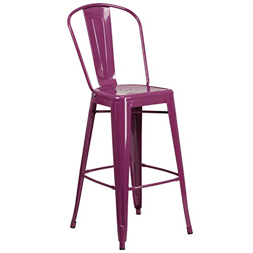 Flash Furniture 30'' High Purple Metal Indoor-Outdoor Barstool with Back by Flash Furniture