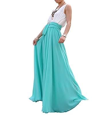 Melansay Women Beatiful Bow Tie Summer Beach Chiffon High Waist Maxi Skirt XL,Aqua