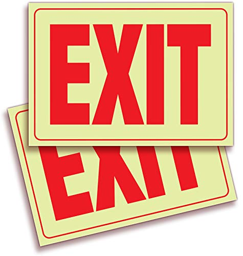 Exit Photoluminescent Signs Stickers - 2 Pack 10x7 Inch - Premium Self-Adhesive Glow in The Dark Vinyl, Laminated for Ultimate UV, Weather, Scratch, Water and Fade Resistance, Indoor & -